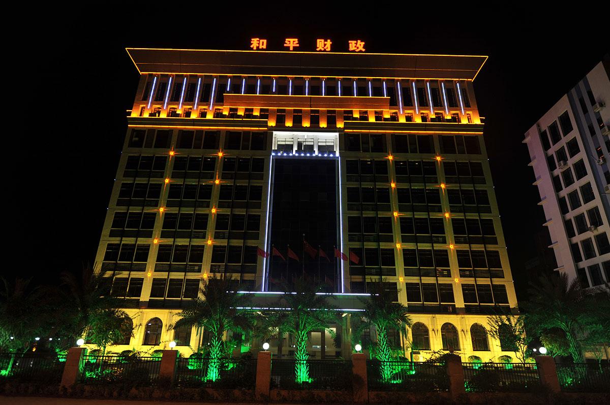 广东河源市市政建筑灯光工程设计落地实景