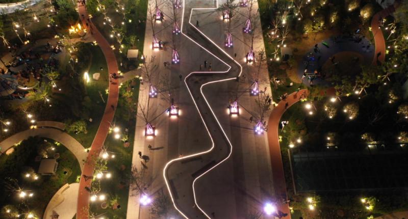 夜景照明升级后的河北廊坊香河人民广场整装亮相