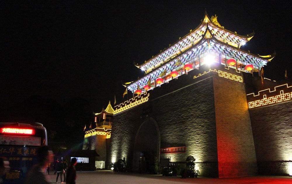 贵州铜仁大明边城经典夜景工程落地实景